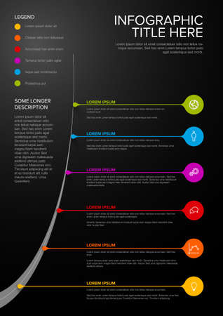 Vector Vertical dark Infographic Company Milestones Timeline Template with droplet pointers on a curved road line
