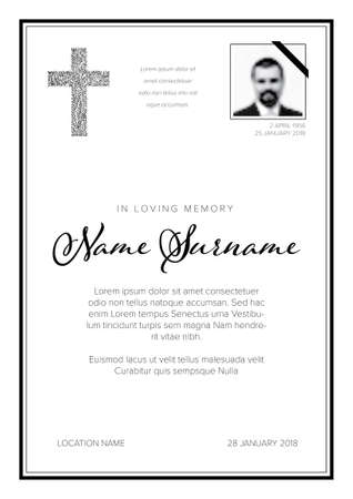 Funeral condolence death notice card template with black elements and photo placeholder on white background Vektorové ilustrace