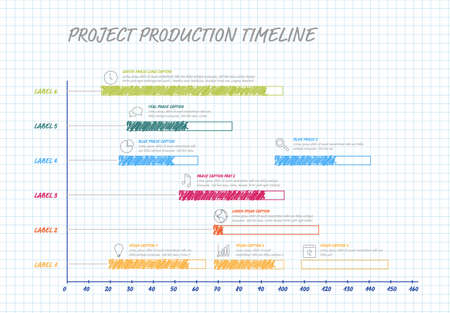 Vector project timeline graph - hand drawn gantt progress chart with highlighet project tasks in time intervals on squared paper Vetores