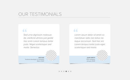 Simple white minimalistic testimonial review section layout template with two testimonials, testimonial photo placeholders, quotes and blue color accent Ilustración de vector