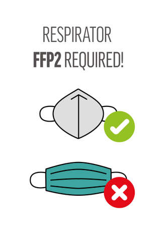 Shop poster - covid prevention - no entry without respirator FFP2, face mask is not enough, respirator FFP2 requiered