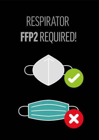 Illustration of respirator FFP2 required on black