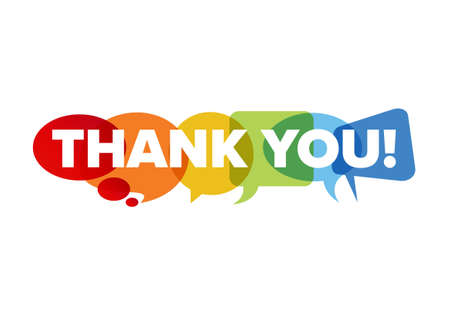Thank you lettering template made from speech bubble.