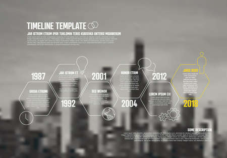 Time line infographic template with photo company corporate business placeholder in the background. Place a corporate image under the infochart timeline template