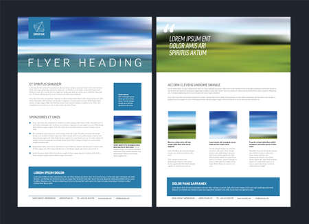 Modern business corporate brochure flyer design vector template with photo and sample content. Front and back side template flyer for print in a4 size. Layout with sample content