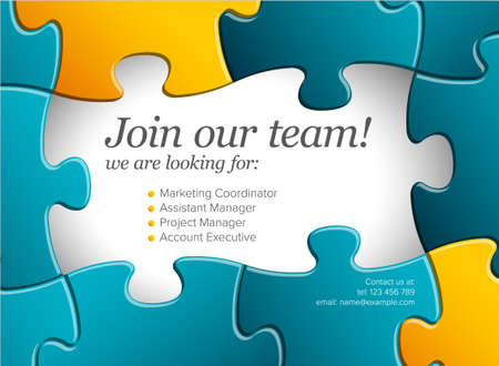 We are hiring minimalistic blue and yellow color flyer template with puzzle pieces - looking for new members of our team hiring a new member colleages to our company organization team simple motive with puzzles