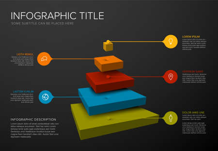 Vector Infographic square layers template with five levels for material structure - color pyramid template on dark background with droplet pointers icons and description. Reverse funnel infographic