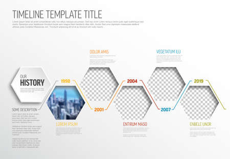 Vector Infographic timeline template made from hexagon photo placeholders with text content - light version with simple color line. Time line infochart with pictures in hexagon windows.