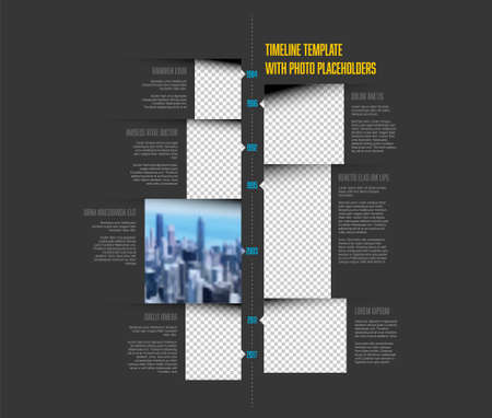 Vector dark simple infographic vertical time line template with rectangle photo placeholders. Business company timeline overview profile with photos and text blocks. Multipurpose photo timeline infograph or infochart.