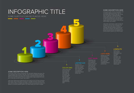 Vector dark multipurpose Infographic template made from color diagonal cylinder steps growing levels stairs chart with numbers descriptions and legend - dark background version with 5 steps elements