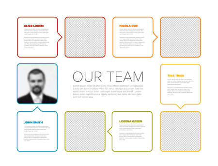 Company team color mosaic presentation template with team profile photos placeholders and some sample text about each team member - solid mosaic version with simple arrows