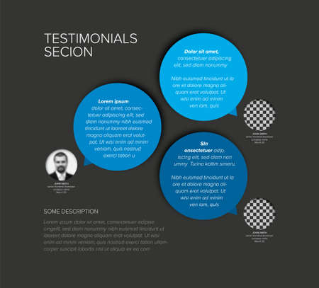 Simple dark minimalistic testimonial review section layout template with three blue testimonials, photo placeholders, quotes and big colorfull circle speech bubbles with review text