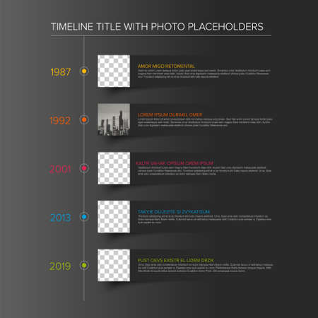 Vector simple dark infographic vertical time line template with square photo placeholders on paper stripes. Business company timeline overview profile with photos and text blocks. Multipurpose photo timeline infograph or infochart.