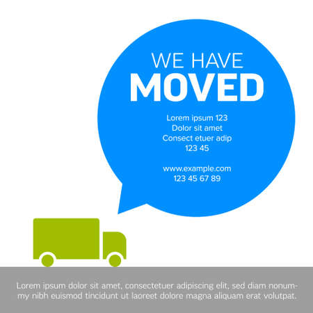 We are moving minimalistic flyer template with place for new company office shop location address in big bubble. We are moved infographic with car. Template for poster flyer with new address after relocation.