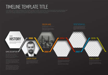 Vector Dark Infographic timeline template made from hexagon photo placeholders with text content - dark version with simple color line. Time line infochart with pictures in hexagon windows. 일러스트