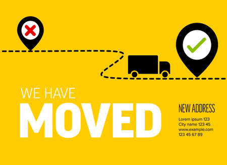 We are moving from one address to another address - minimalistic yellow flyer template with place for new company office shop location address. Template for poster flyer with new address after relocation.