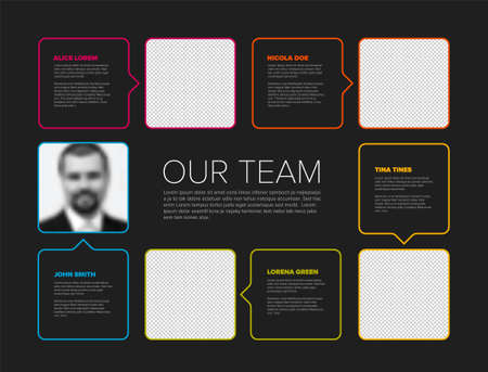 Company team color mosaic presentation template with team profile photos placeholders and some sample text about each team member - solid dark mosaic version with simple arrows 일러스트