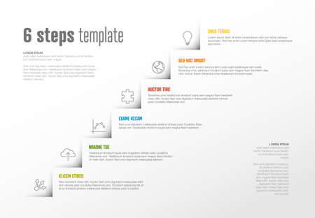 Vector Infographic steps diagram template for workflow, business schema or procedure diagram - light version with icons. Progress steps with titles descriptions and icons