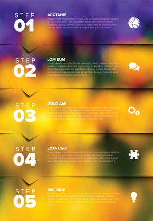 Five vector progress block steps template with descriptions, big numbers and icons and bigh photo placeholder in the background. Five steps vertical sequence with tasks descriptions