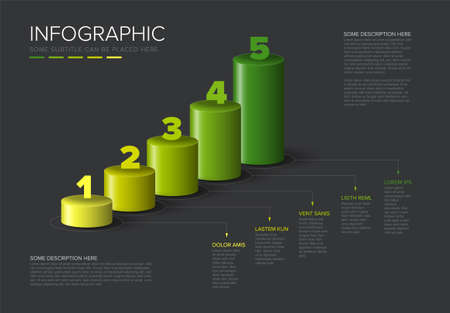 Vector dark multipurpose Infographic template made from green diagonal cylinder steps growing levels stairs chart with numbers descriptions and legend - dark background version with 5 steps elements