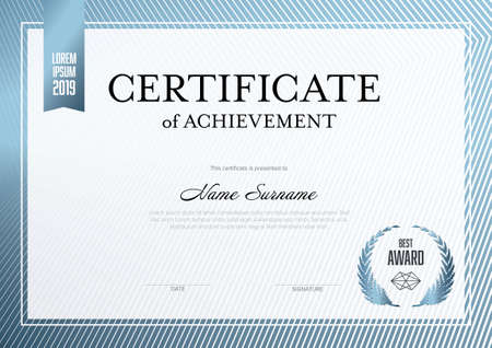 Modern certificate of achievement template with place for your content - metallic blue design. Light white blue layout template for any premium certificate, diploma, graduation or achievement document for print 일러스트