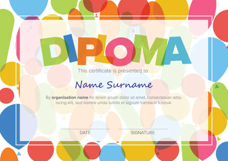 Colorful child diploma certificate template with color baloons and big color lettering. Kids diploma certificate template ready to print in a4 size