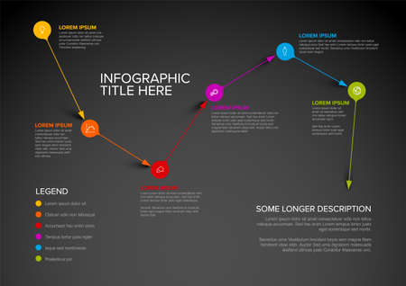 Vector multipurpose Infographic template made from pointer pins on abstract path with icons, descriptions and legend. Point to point path with arrow pin pointers and text elements on dark background