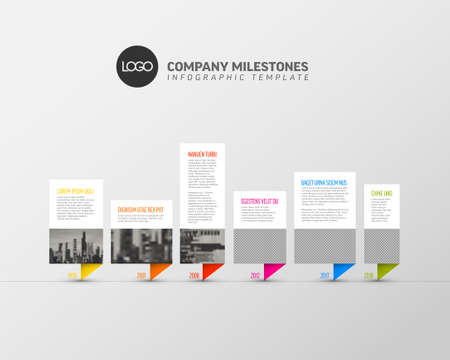 Vector Infographic timeline template made from paper speech bubbles photo placeholders with text content - light version with simple color corners. Time line infochart with phoro pictures.