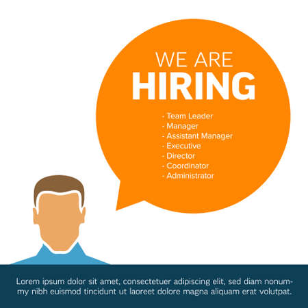 We are hiring minimalistic flyer template - looking for new members of our team hiring a new member colleages to our company organization team simple motive with profile and speech bubble