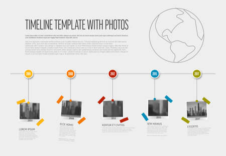 Vector Infographic Company Milestones Timeline Template with photo placeholders as snapshots on a line. Simple horizontal timeline with photo pictures placeholders.