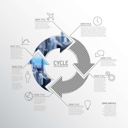 Vector Simple cycle infographic template with photo placeholders. Business company overview profile with four photos in arrows circle and some descriptions.