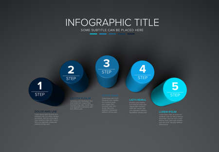 Vector multipurpose Infographic template made from five color cylinder steps chart with numbers descriptions and legend - dark background version with 5 blue steps elements