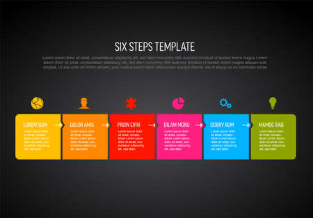 Six vector square flat progress steps template with arrows and descriptions. Simple minimalistic progress procedure schema template with six steps elements on dark background