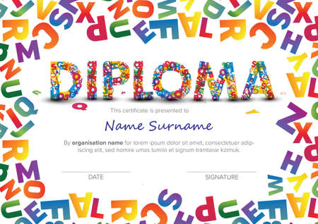 Colorful child diploma certificate template with color letters and big color lettering. Kids diploma certificate template ready to print in a4 size