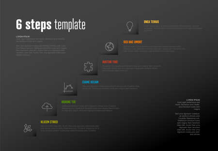 Vector Infographic steps diagram template for workflow, business schema or procedure diagram - dark version with icons. Progress steps with titles descriptions and icons 일러스트