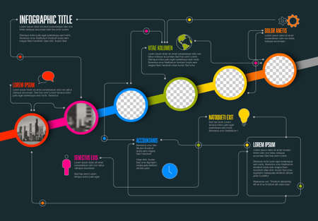 Vector Infographic timeline template made from circle photo placeholders with text content - dark version with simple color line. Time line infochart with pictures in circle windows.