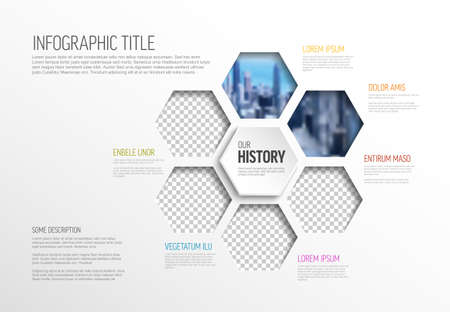 Vector Infographic template made from hexagon photo placeholders with text content - light version with simple color line. Infographic infochart with pictures in hexagon windows. 일러스트