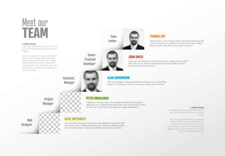 Company team presentation template with team profile photos placeholders and some sample text about each team member - solid steps version with simple arrows 일러스트