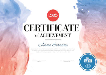 Modern art certificate of achievement template with place for your content - horizontal fresh red blue aquarelle watercolor style version. Artistic certificate diploma template.