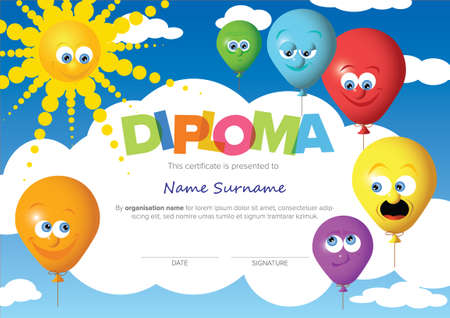 Colorful child diploma certificate template with color balloons, sun sky and big color lettering. Kids diploma certificate template ready to print in a4 size