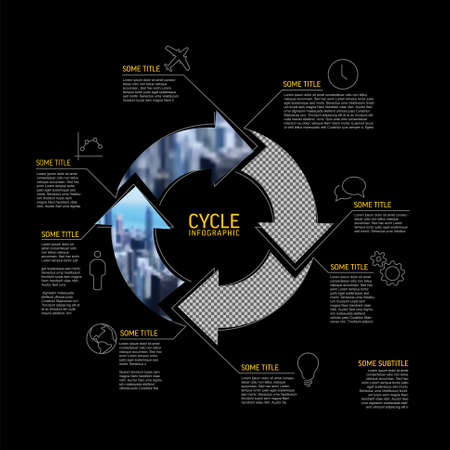 Vector Simple cycle infographic template with photo placeholders. Business company overview profile with four photos in arrows circle and some descriptions dark version.