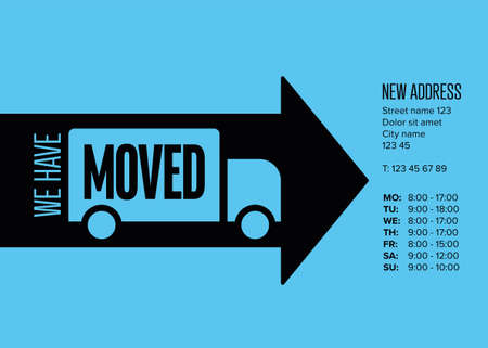 We are moving minimalistic flyer template with place for new company office shop location address, opening hours in big black arrow on blue. We are moved infographic with car. Template poster flyer with new address relocation.