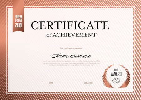 Modern certificate of achievement template with place for your content - metallic red bronze design. Light white red layout template for any premium certificate, diploma, graduation or achievement document for print