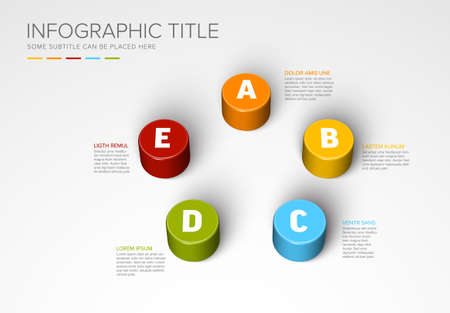 Vector multipurpose Infographic template made from five color cylinders chart with numbers descriptions and legend - light background version with five elements