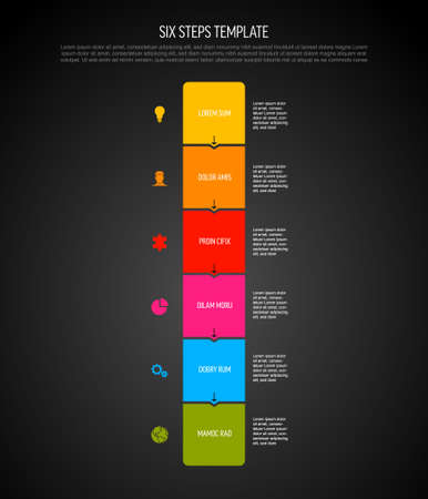 Six vector square flat vertical progress steps template with arrows and descriptions. Simple minimalistic progress procedure schema template with six steps elements on dark background 일러스트