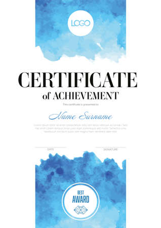 Modern art certificate of achievement template with place for your content - vertical fresh blue aquarelle watercolor style version. Artistic certificate diploma template.