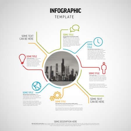 Vector Infographic diagram template made from lines and icons - big circle infochart with smaller elements and circle photo placeholder in the midle