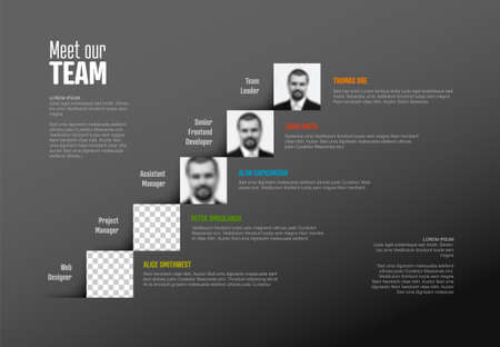Company team presentation template with team profile photos placeholders and some sample text about each team member - solid steps version with simple arrows on dark background 일러스트