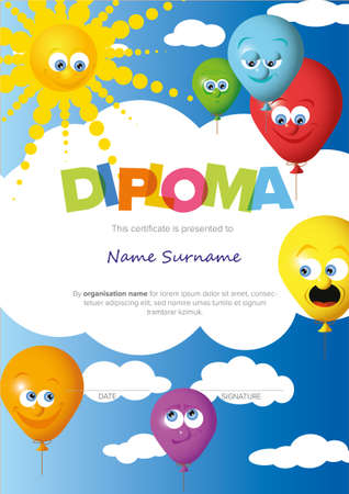 Colorful vertical child diploma certificate template with color balloons, sun sky and big color lettering. Kids diploma certificate template ready to print in a4 size