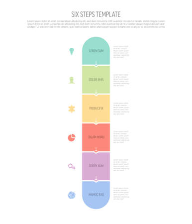 Six vector square flat vertical progress steps template with arrows and descriptions. Simple minimalistic progress procedure scheme template with six pastel steps elements on white background 일러스트
